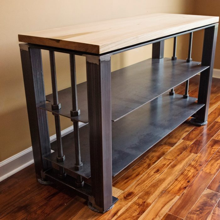 Steel and Poplar Accent table