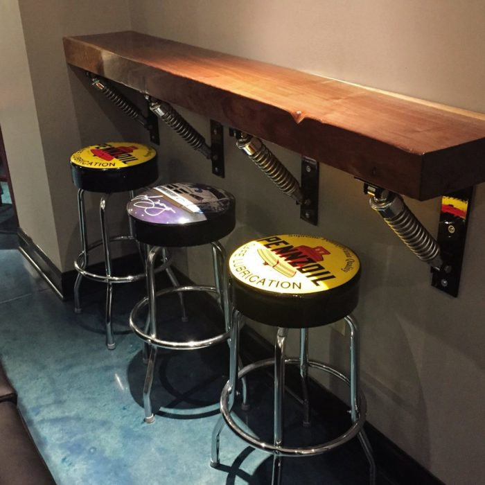 Custom bar featuring Harley Davidson shocks