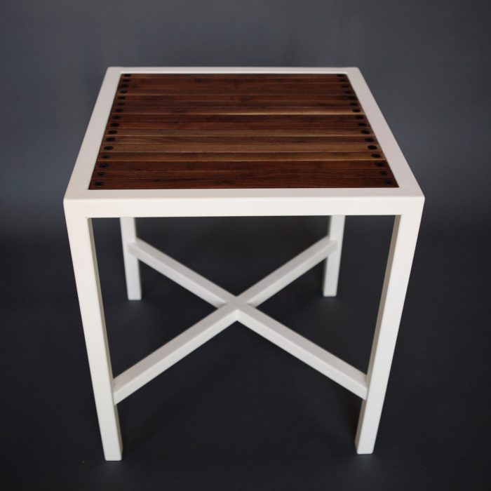 White steel side table